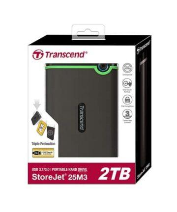 Computer Data Storage TRANSCEND Storejet 25M3 – 2TB – USB 3.1 External Hard Drive -Grey